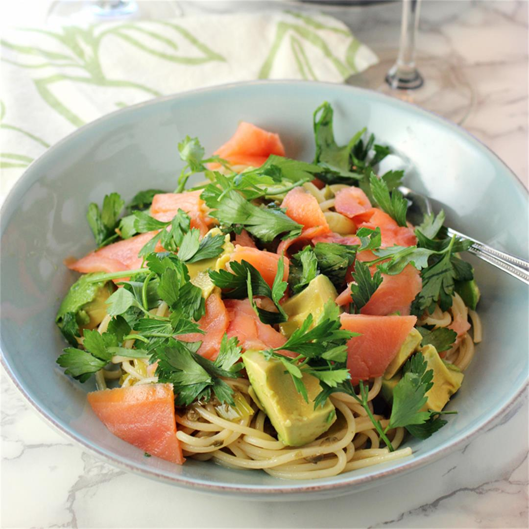 Chilled smoked salmon spaghetti with capers and avocado