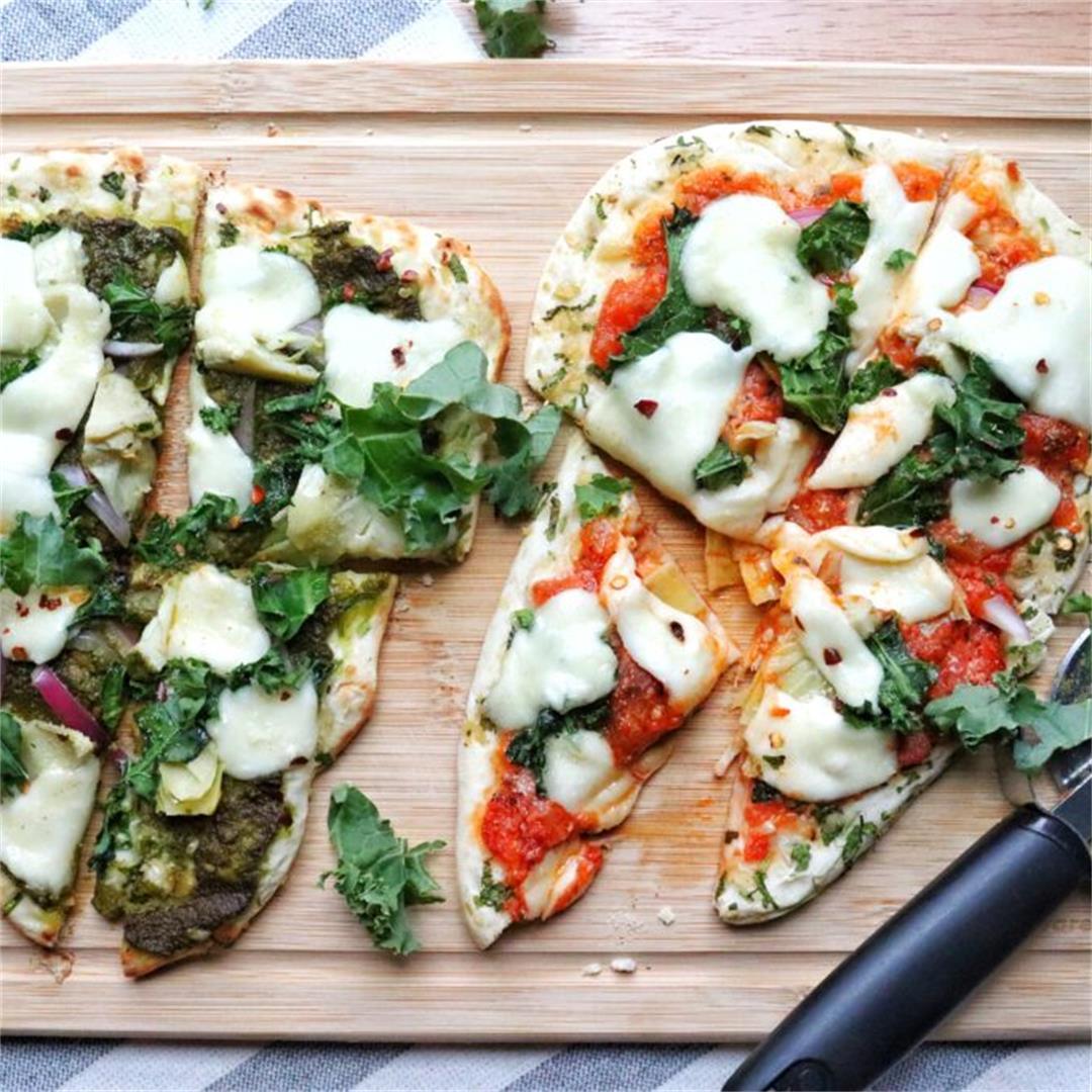 Artichoke and Kale Naan Pizza