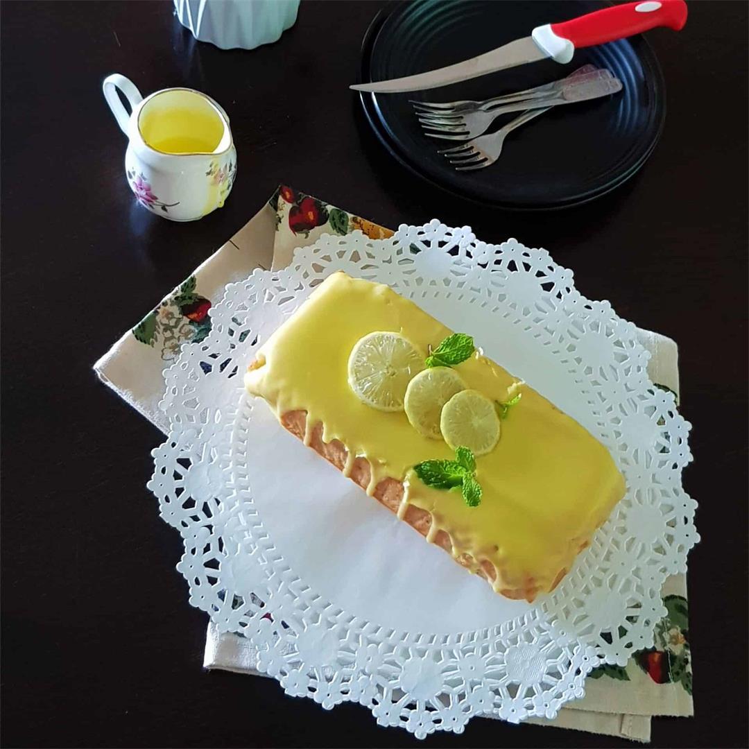 Simple lemon cake with lemon glaze/ Eggless lemon cake