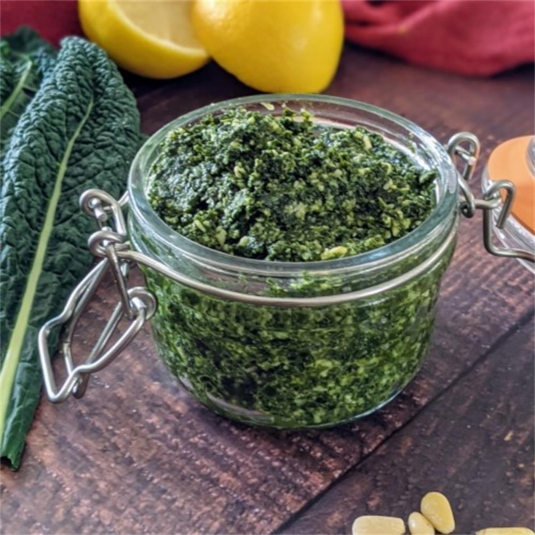 Cavolo Nero Pesto Recipe served with Zucchini Pasta
