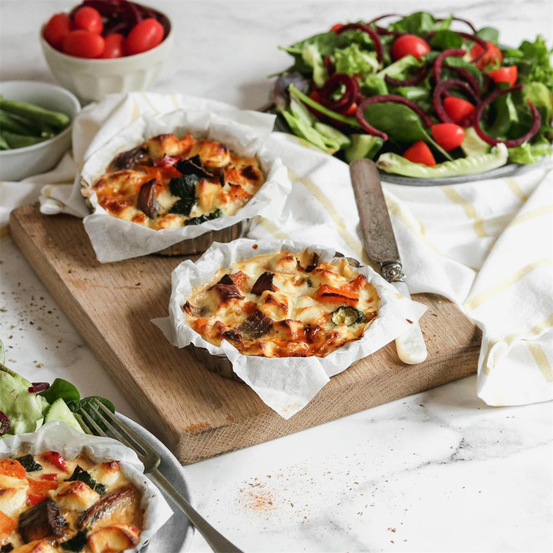 Mini roasted veggie quiches with goats cheese