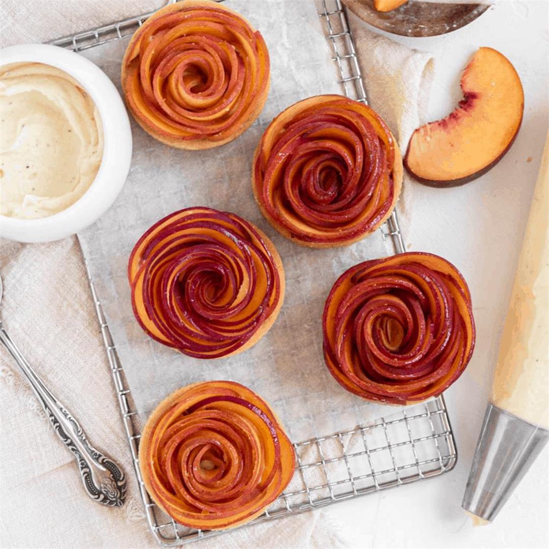 Rose-Shaped Peach Tarts