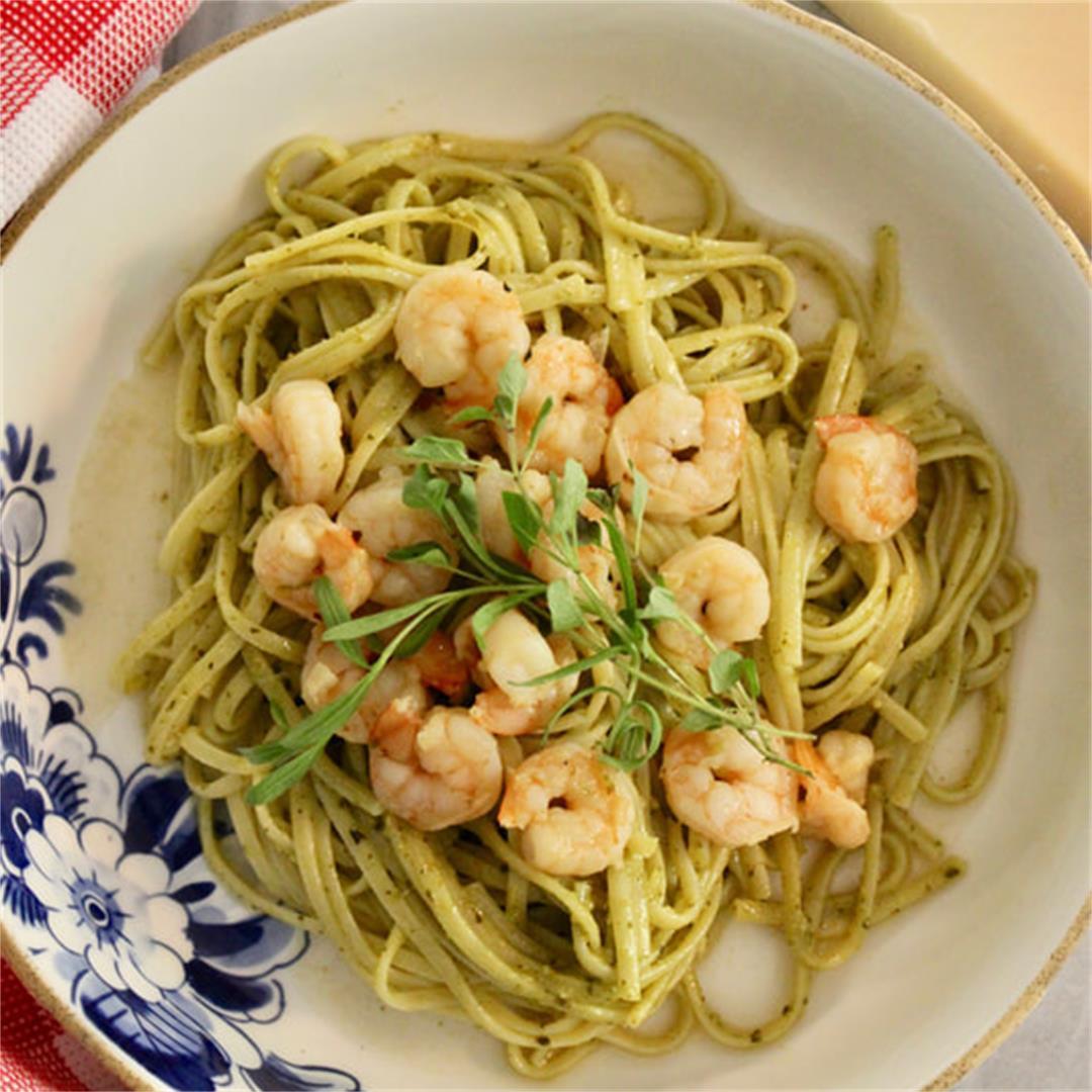 Linguine with Pesto and Shrimp