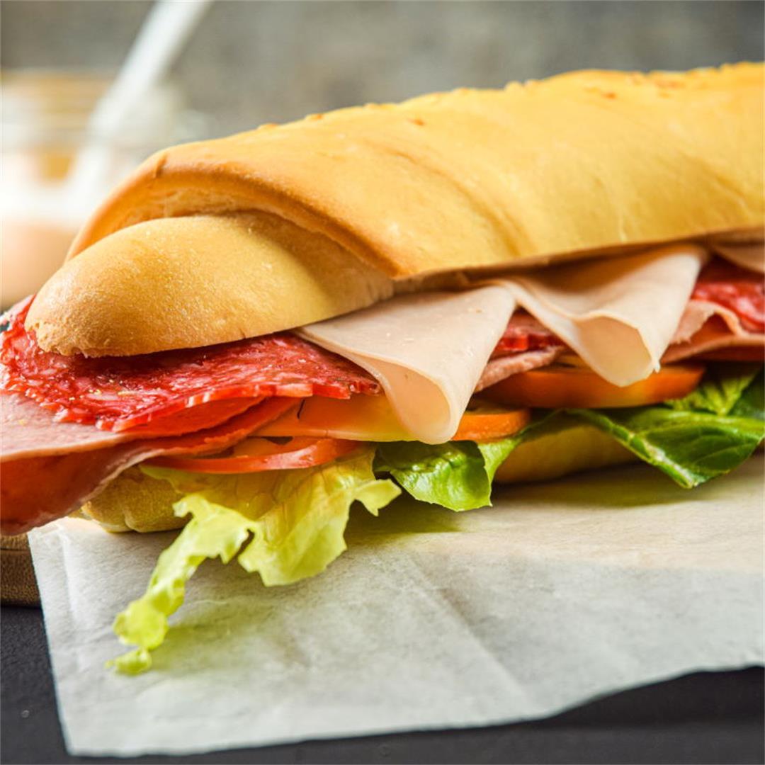 Triple Meat Sub Sandwich with Creamy Sriracha Sauce