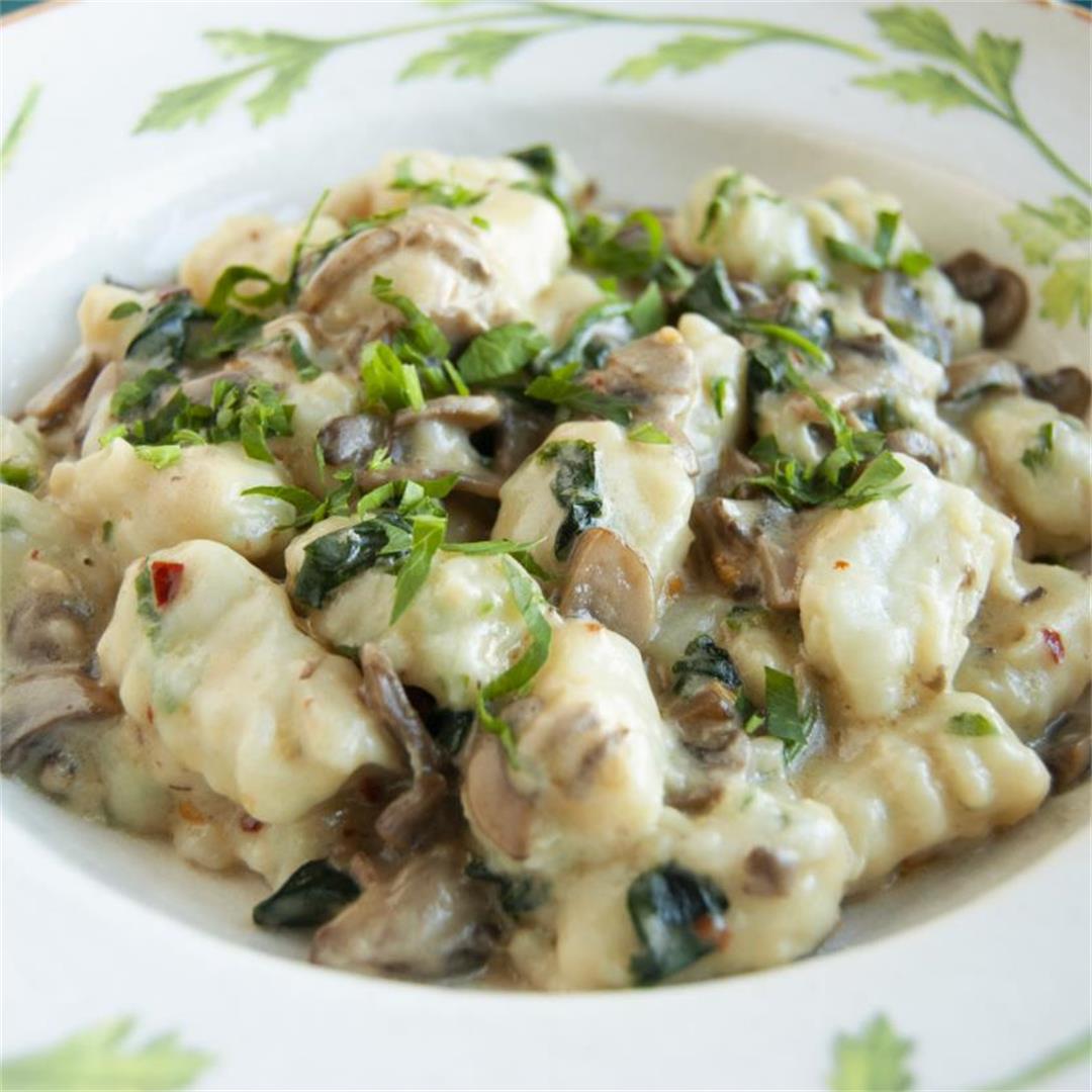Parsley Gnocchi in a Creamy Mushroom Sauce