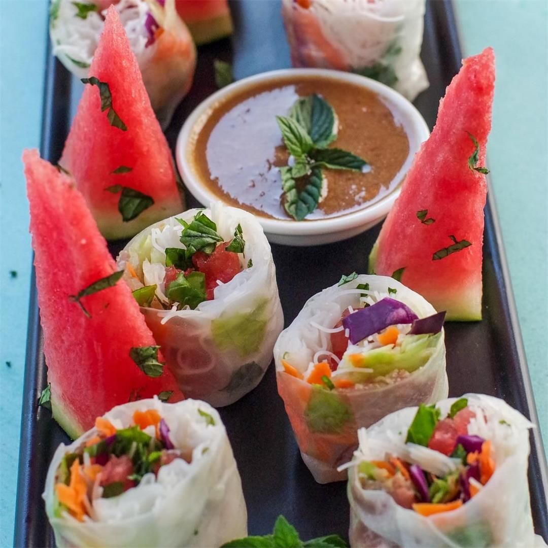 Watermelon Prosciutto Vietnamese Salad Rolls