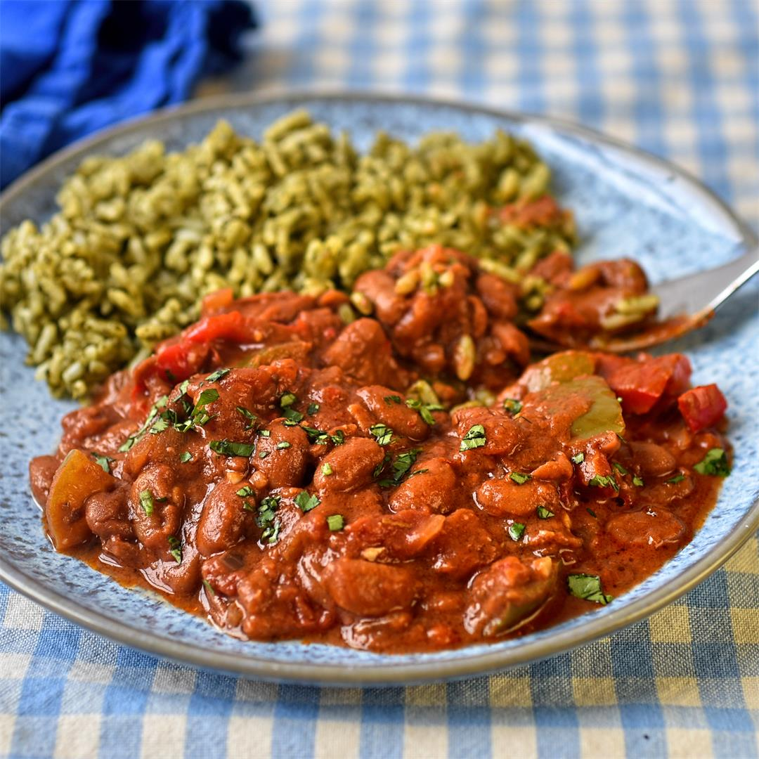 Mexican-style pinto beans with green rice