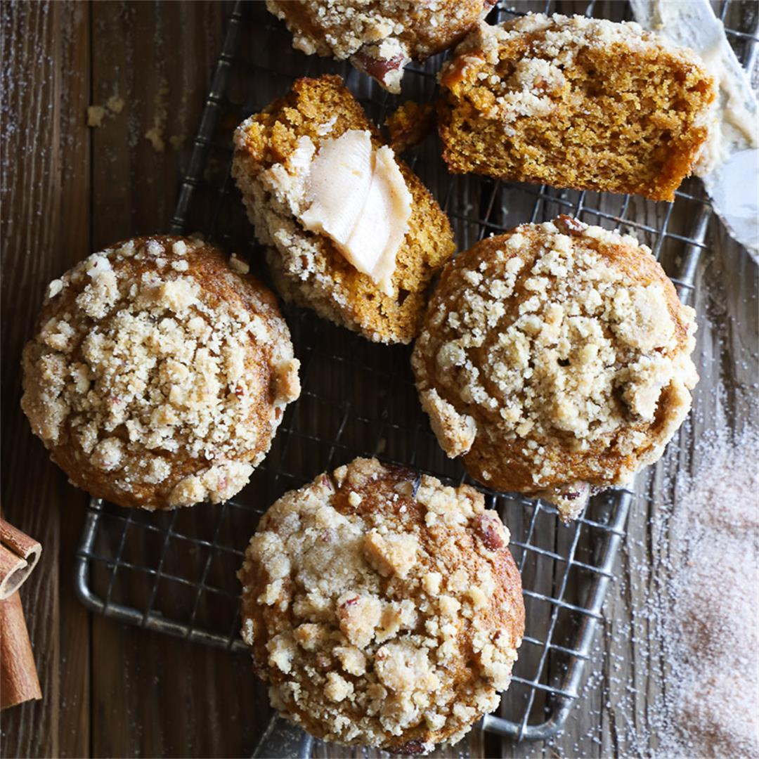 Pumpkin Pecan Streusel Muffins with Whipped Maple Butter -