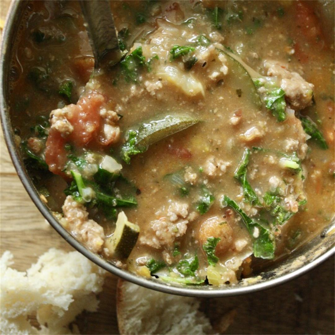 Spicy Tuscan Sausage and Bean Soup -