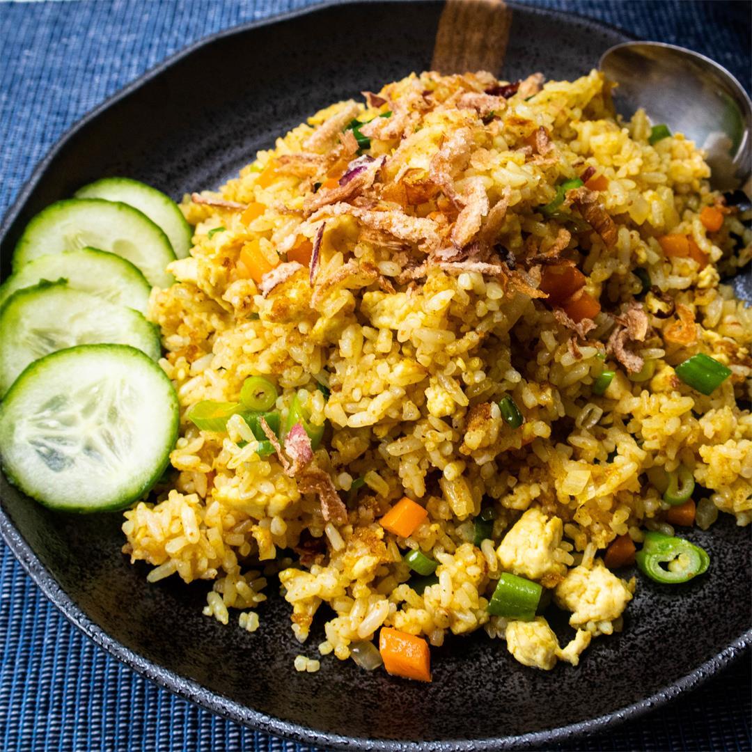 Vegan Curried Tofu Fried Rice- One wok in under 15 minutes!
