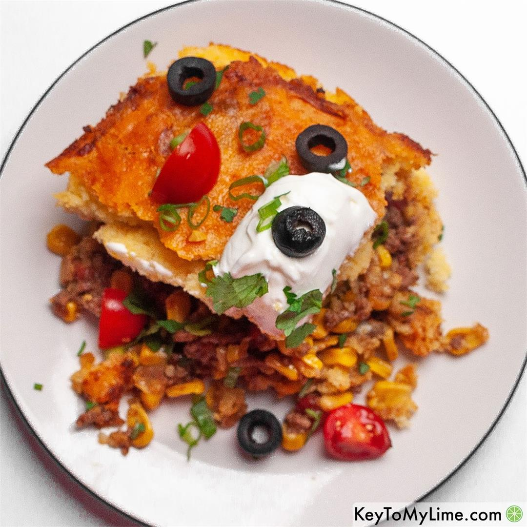 EASY Mexican Cornbread Casserole with Ground Beef