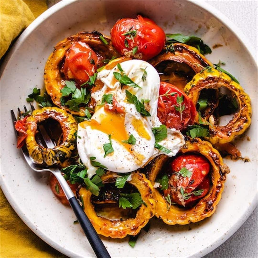 Roasted Cherry Tomatoes with Thyme, Delicata Squash, and Poache