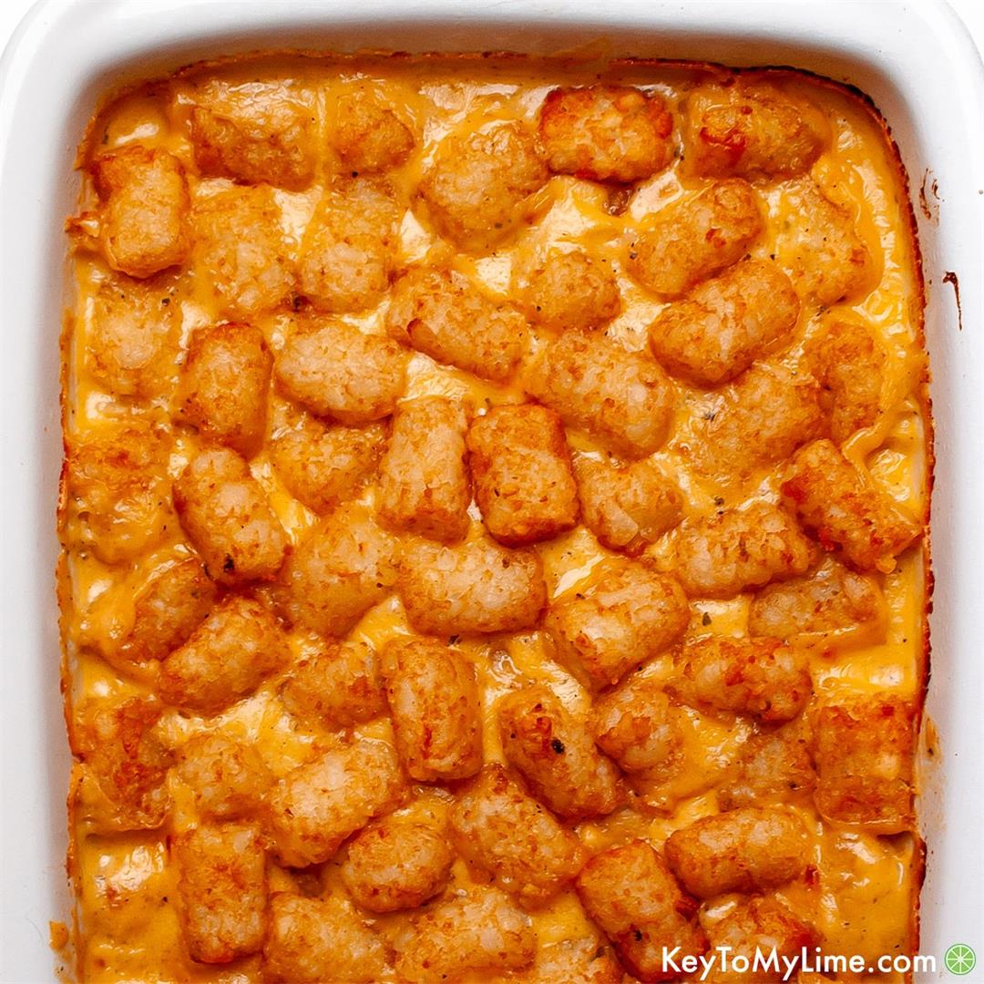 Cheesy Chicken Tater Tot Casserole With Ranch {Without Soup}