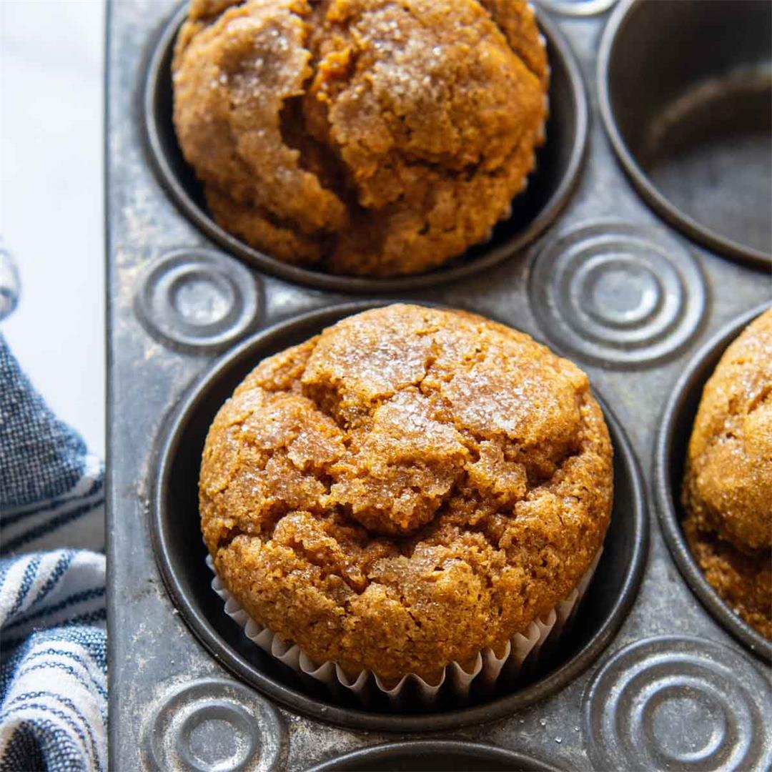 Pumpkin Oat Flour Muffins