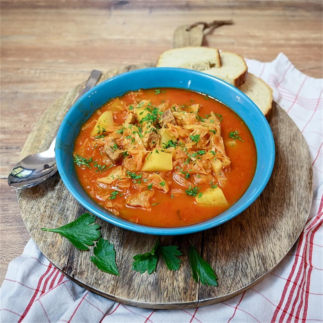 Tomato Soup With Cabbage And Pork Shoulder