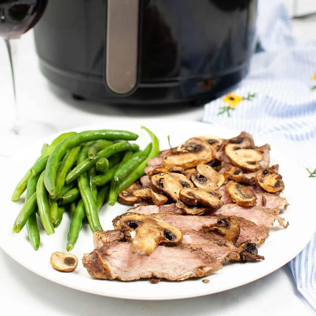 Air Fryer Steak and Mushrooms