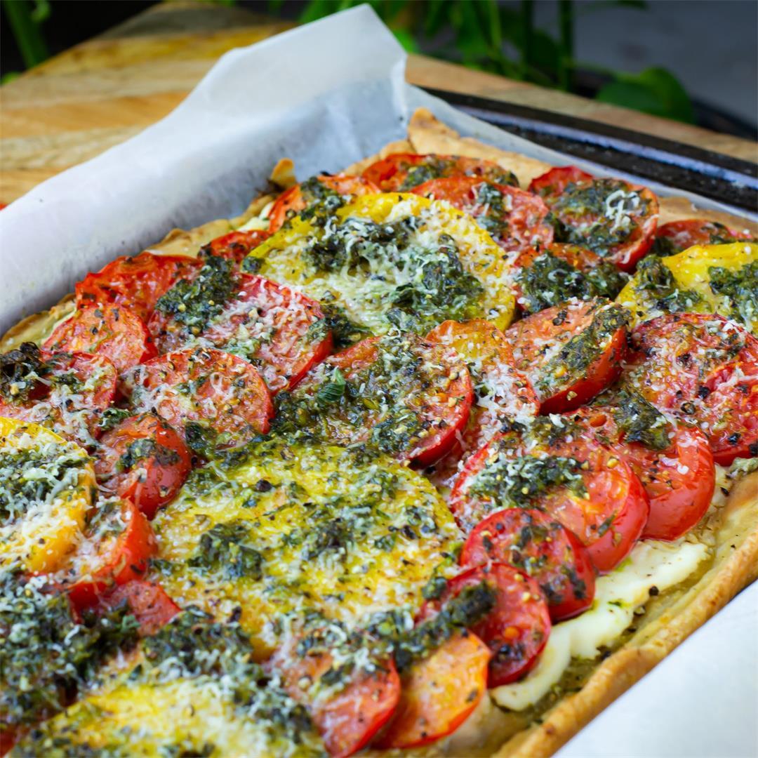 Roasted Pesto Tomato Tart