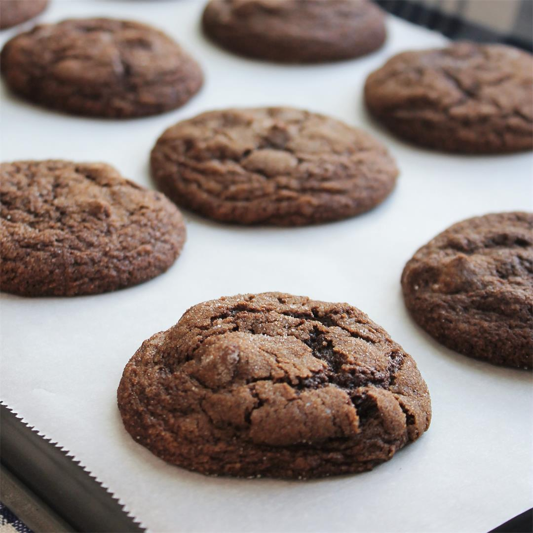Chewy Chocolate Molasses Cookies