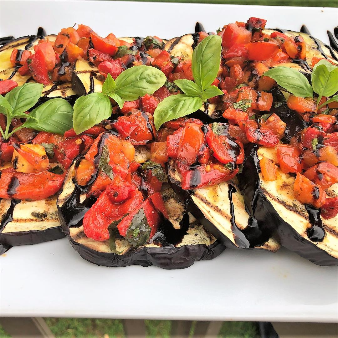 Grilled Eggplant with tomato and pepper medley