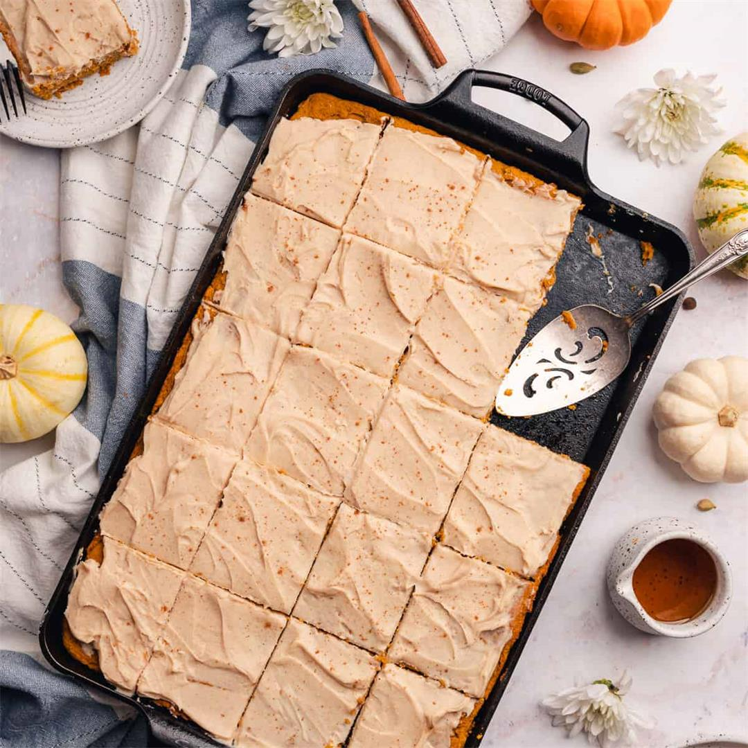 Keto Pumpkin Bars with Spiced Maple Cream Cheese Frosting