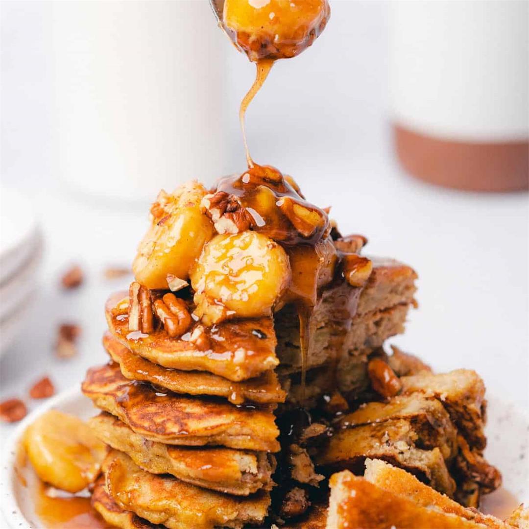 Bananas Foster Pancakes (Gluten Free, Refined Sugar Free)