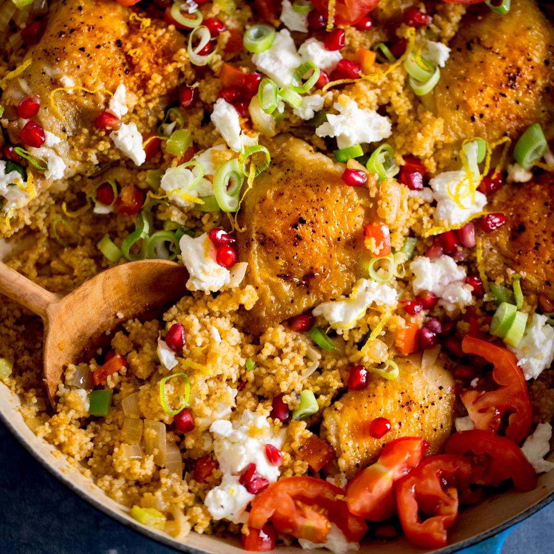 One-pot chicken and couscous with feta