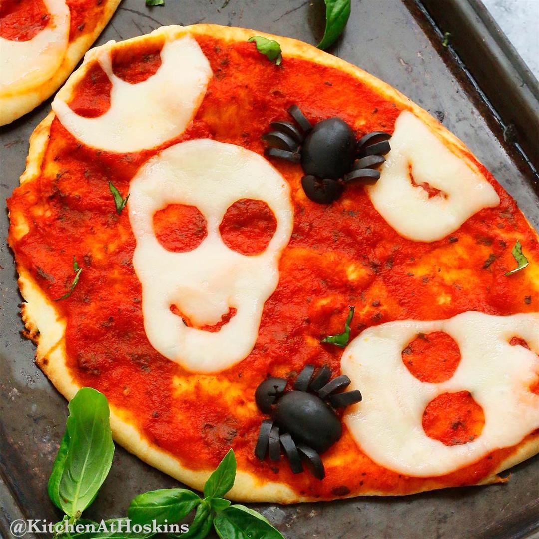 Halloween Pizza for Kids using Naan Bread