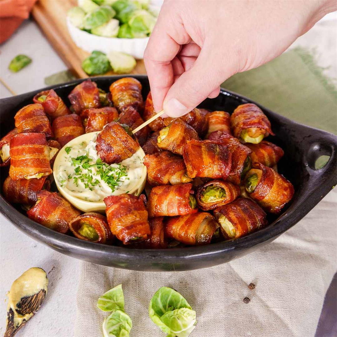 Balsamic Bacon Wrapped Brussels Sprouts Appetizer