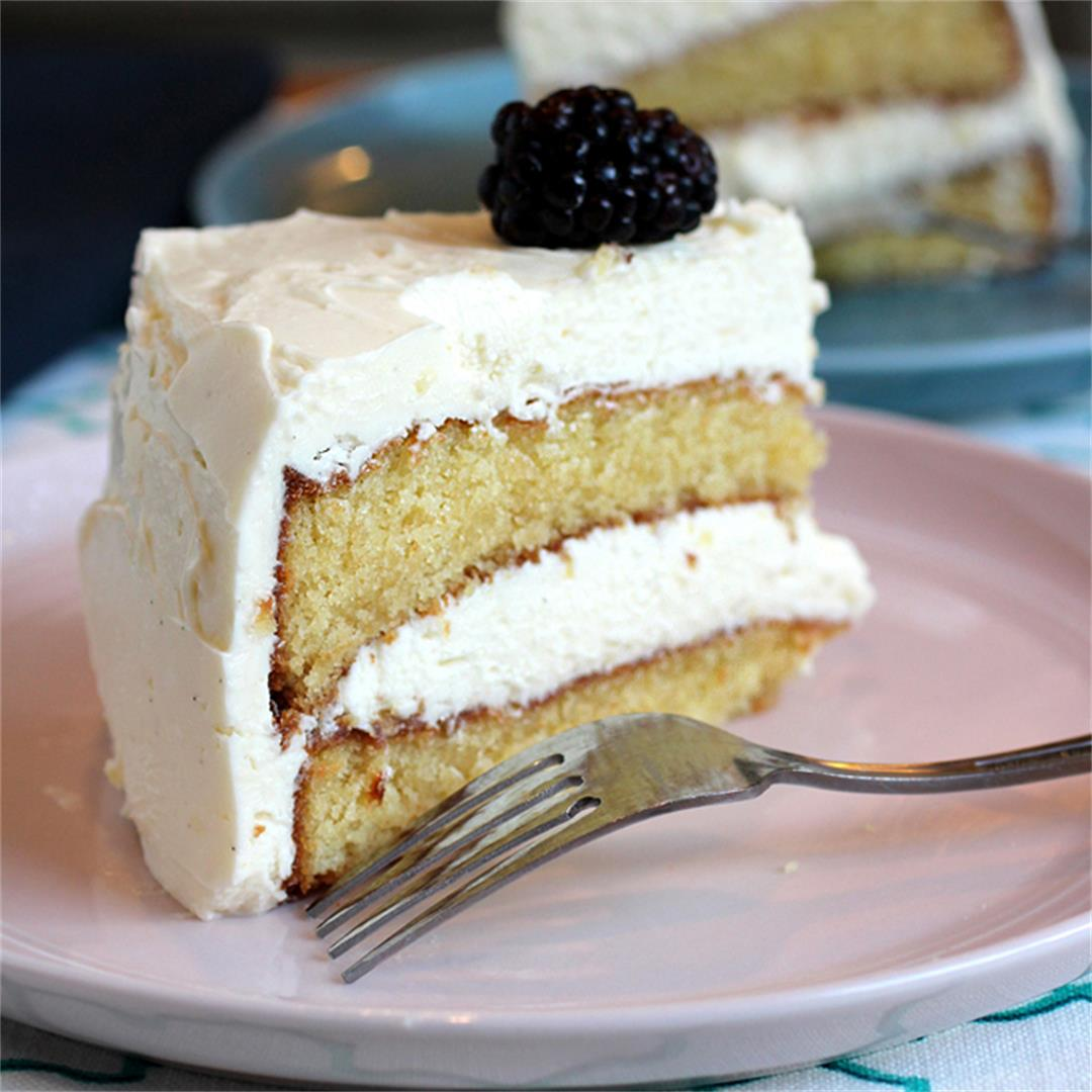 Almond cake with Italian meringue buttercream