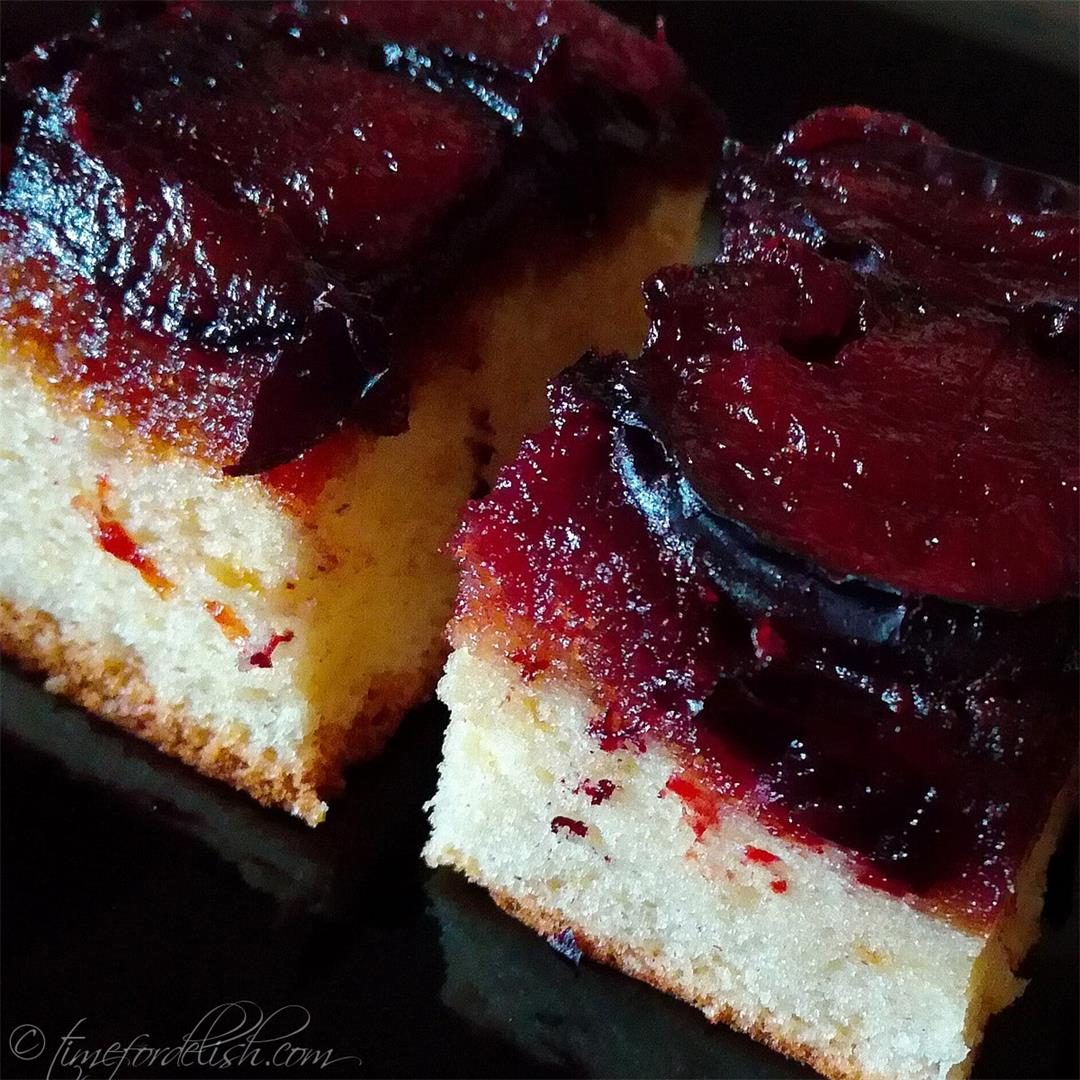 Upside Down Plum Cake Recipe